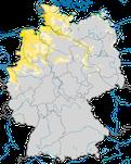 Karte zum Brutvorkommen des Austernfischers (Haematopus ostralegus) in Deutschland.
