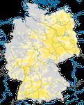 Karte zum Brutvorkommen des  Schwarzmilans (Milvus migrans) in Deutschland.
