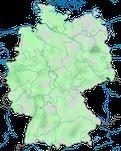Karte zur Verbreitung der Mandarinente (Aix galericulata) in Deutschland.