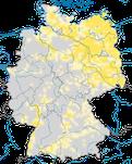 Karte den Brutvorkommen des Weißstorch (Ciconia ciconia) in Deutschland.