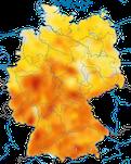 Karte zur Verbreitung des Sommergoldhähnchens (Regulus ignicapilla) in Deutschland während der Brutzeit.
