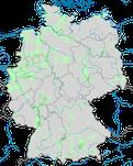 Karte zur Verbreitung der Streifengans (Anser indicus) in Deutschland