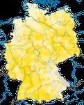 Karte zur Verbreitung des  Schwarzmilans (Milvus migrans) in Deutschland.
