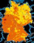 Karte zum Brutvorkommen der Heckenbraunelle (Prunella modularis) in Deutschland.