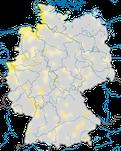 Karte zur Verbreitung des Löfflers (Platalea leucorodia) in Deutschland.