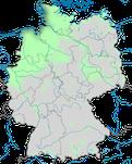 Karte zum Brutvorkommen des Austernfischers (Haematopus ostralegus) in Deutschland im Jahresverlauf.