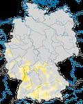 Karte zur Verbreitung des Purpurreihers (Ardea purpurea) in Deutschland.