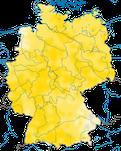 Karte zur Verbreitung des Rotmilans (Milvus milvus) in Deutschland