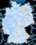 Karte zur Verbreitung der Heckenbraunelle (Prunella modularis) in Deutschland. im Winter.