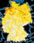 Karte zur Verbreitung der Rohrammer (Emberiza schoeniclus) in Deutschland