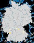 Karte zum Brutvorkommen des Purpurreihers (Ardea purpurea)  in Deutschland.