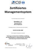 ISO 9001 Zertifizierung der Fa. ZimmAteC