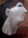 huile sur toile 30/40 cm, visage profi,l blanc/noir/bruns.