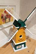 Nestkast geel, Hollands molen, vogelhuis als molen, leuk vogel huis