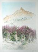 Piero Cicoli litografia barca neve borgata