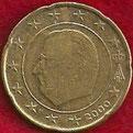 MONEDA BÉLGICA - KM 228 - 20 CÉNTIMOS DE EURO - 2.000 - ORO NÓRDICO (MBC-/+/VF-/+) 0,50€.