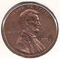 MONEDA ESTADOS UNIDOS - KM 201b - 1 CÉNTAVO DE DÓLAR USA - 1.993 - COBRE (SC-/UNC-) 0,60€.