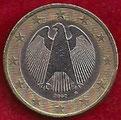 MONEDA ALEMANIA - KM 213 - 1 EURO - 2.002 (D) CUPRONÍQUEL - LATÓN - BIMETÁLICA (BC+/-/F+/-) 1,75€.