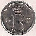 MONEDA BÉLGICA - KM 154.1 - 25 CÉNTIMOS (BELGIE) 1.972 - COBRE - NíQUEL (MBC+/VF+) 0,60€.