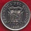 MONEDA ECUADOR - KM 90 - 50 CENTAVOS - 1.988 - ACERO NÍQUELADO (SC/UNC) 0,90€.