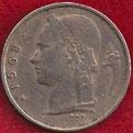 MONEDA BÉLGICA - KM 143.2 - 1 FRANCO BELGA (BELGIE) 1.968 (MEDALLA ALINEADA) (MBC/VF) 0,75€.