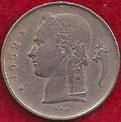 MONEDA BÉLGICA - KM 143.1 - 1 FRANCO BELGA (BELGIE) 1.952 - COBRE - NíQUEL (BC/VG) 0,50€.