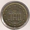 MONEDA ALEMANIA - KM 255 - 20 CÉNTIMOS DE EURO - 2.010 (G) ORO NÓRDICO (EBC-/XF-) 1,20€.