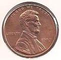 MONEDA ESTADOS UNIDOS - KM 201b - 1 CÉNTAVO DE DÓLAR USA - 1.997 - COBRE (SC-/UNC-) 0,60€.