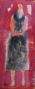 Black dress   17×7cm Acrylic on paperboard  2014  Privatecollection