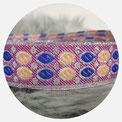 orientalische Brokatborte silber/ blau/lachs