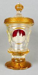 Arnstadt Kristall, Glaspokal , Gelb überfangen, geschliffen, Liebfrauenkirche, , € 240,00
