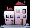 assurance habitation comparateur comparatif comparaison maison rouge violet vert deux cheminé porte fenêtre immeuble logement toit