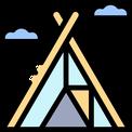 Icon Zelt für Werbung Camping-Versicherung mit CDW-Wohnmobil-Reiseschutz
