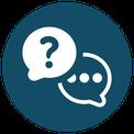 Icon - Sprechblasen für Frage und Antwort