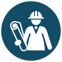 Icon - project manager with plan and helmet