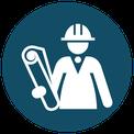 Icon - Projektmanager mit Plan und Helm