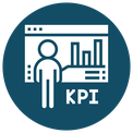 Icon for KPI monitoring - person standing in front of an evaluation with charts