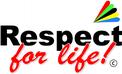Respect-for-life! Logo mit Regenbogen in Schreibschrift.