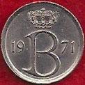 MONEDA BÉLGICA - KM 153.1 - 25 CÉNTIMOS (BELGIQUE) 1.971 - COBRE - NíQUEL (MBC/VF) 0,60€.