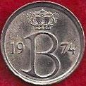 MONEDA BÉLGICA - KM 154.1 - 25 CÉNTIMOS (BELGIE) 1.974 - COBRE - NíQUEL (SC-/UNC-) 0,60€.