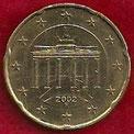 MONEDA ALEMANIA - KM 211 - 20 CÉNTIMOS DE EURO - 2.002 (F) ORO NÓRDICO (MBC/VF) 0,75€.