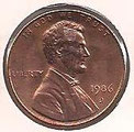 MONEDA ESTADOS UNIDOS - KM 201b - 1 CÉNTAVO DE DÓLAR USA - 1.986 (D) COBRE (EBC+/-/XF+/-) 0,60€.