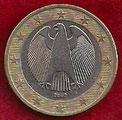 MONEDA ALEMANIA - KM 213 - 1 EURO - 2.002 (A) CUPRONÍQUEL - LATÓN - BIMETÁLICA (MBC-/VF-) 1,75€.