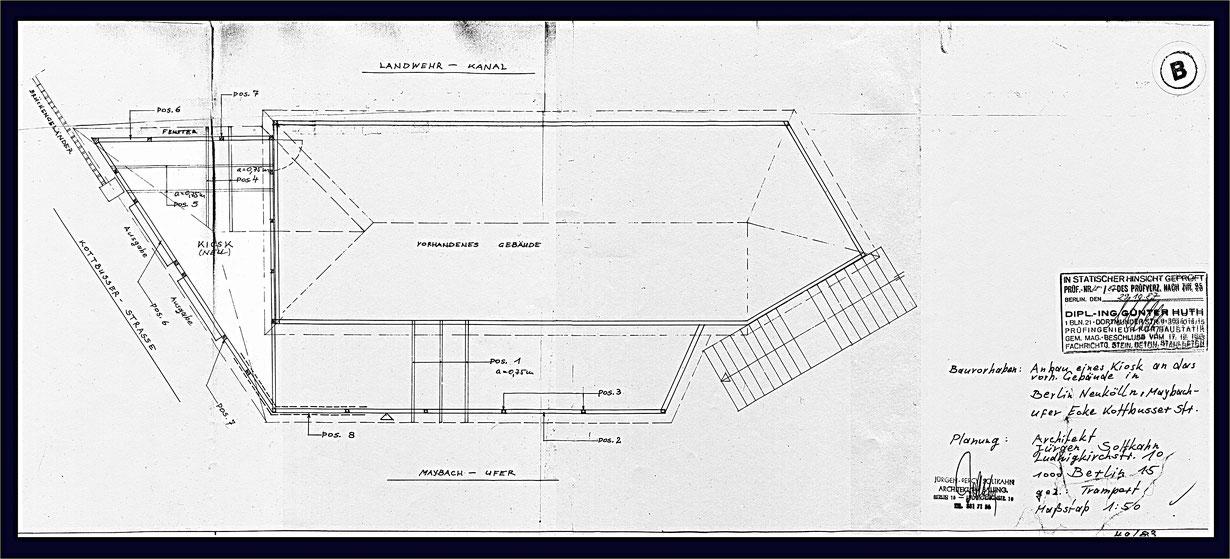 Planzeichnung der Schiffsanlegestelle von 1987.