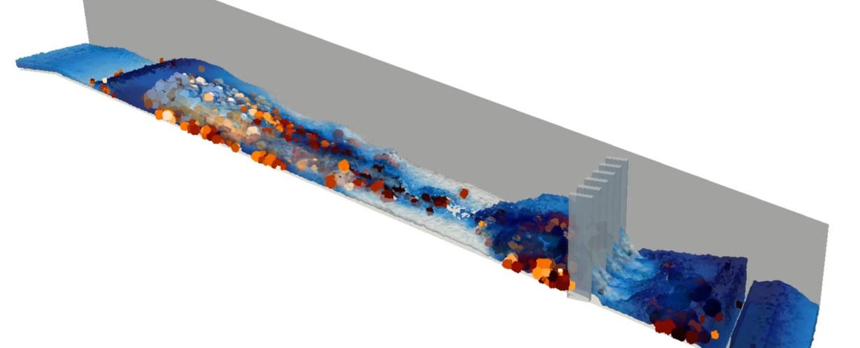 Coupled DEM-CFD modelling of a debris flow surge using the DualSPHysics platform