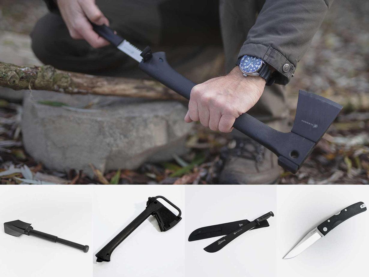 Fire-Tools, Klappspaten, Survival-Axt, Machete, Taschenmesser