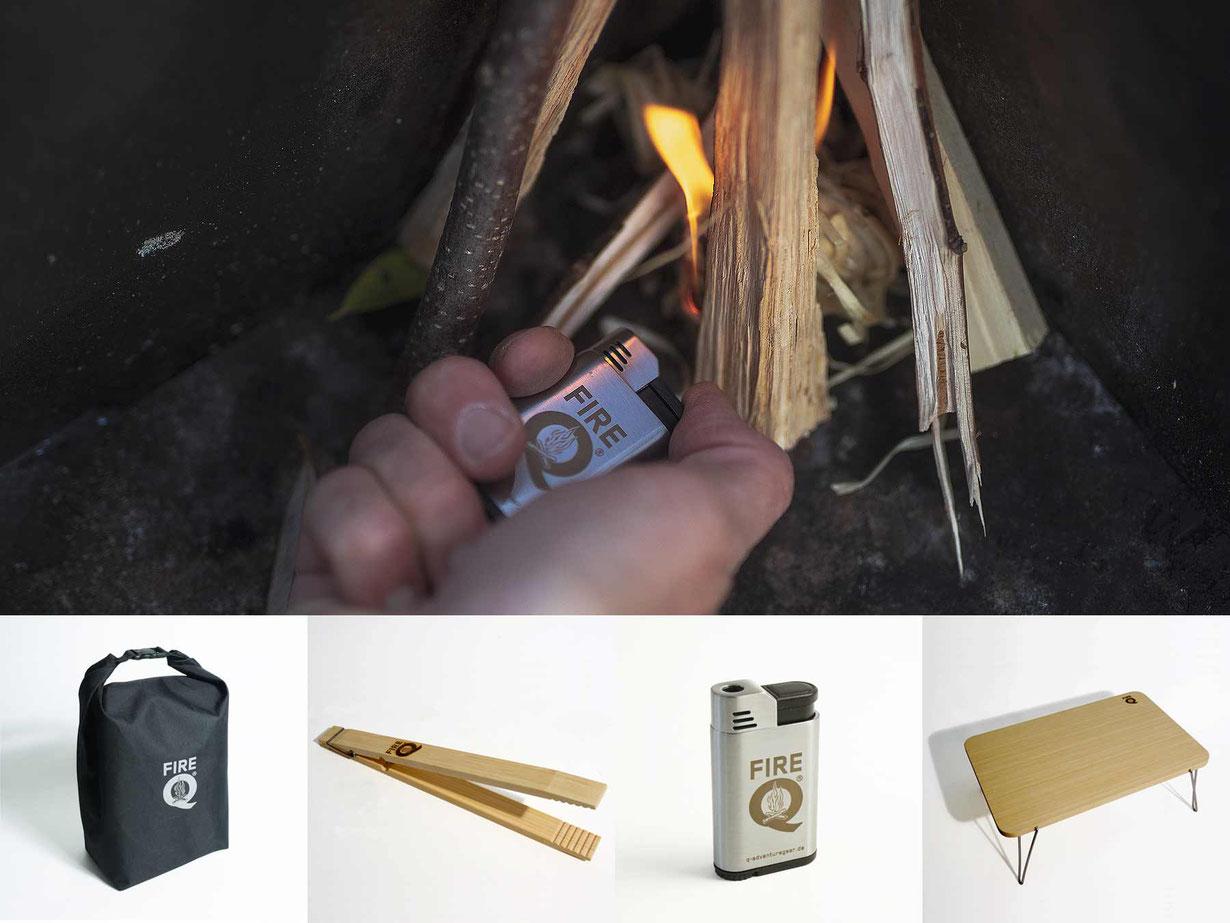 FireQ-Zubehör, Grillkohlebeutel, Grillzange, STurmfeuerzeug, FireQ-Sundowner-Tisch
