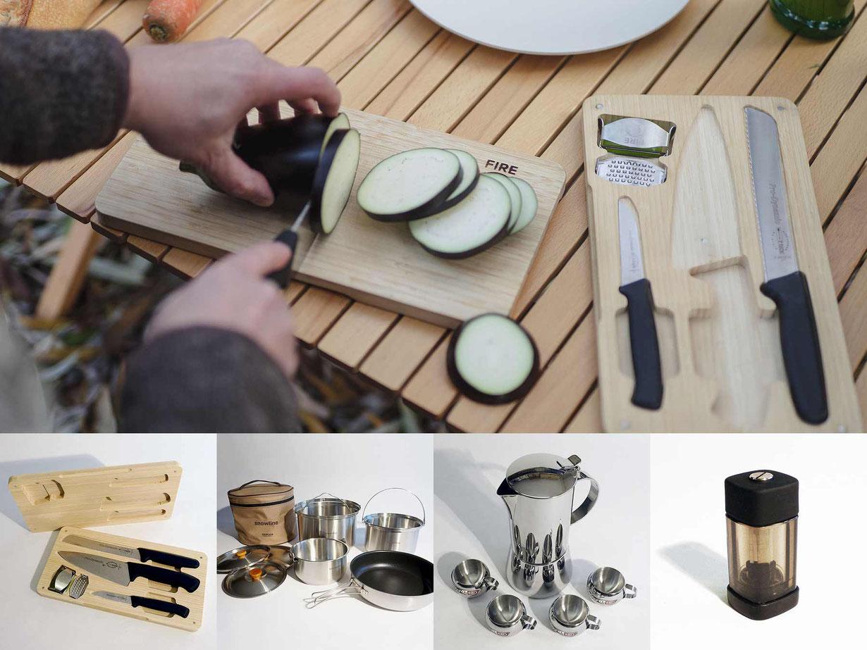 FireQ-Cookware, FireQ-Messerset, Töpfe, Espressopot, Pfeffermühle, Gewürzmühle