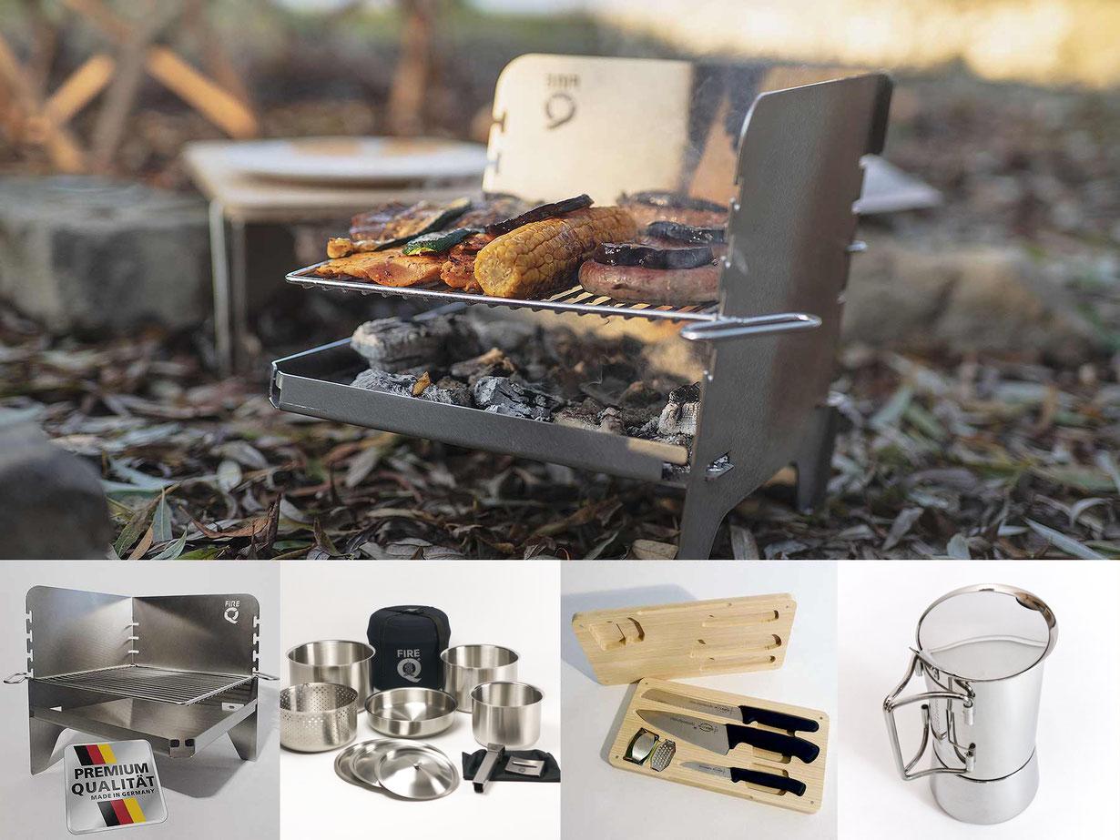 Outdoor-Cooking, FireQ-Reisegrill, FireQ-Messerset, Töpfe, Teller und Schüsseln