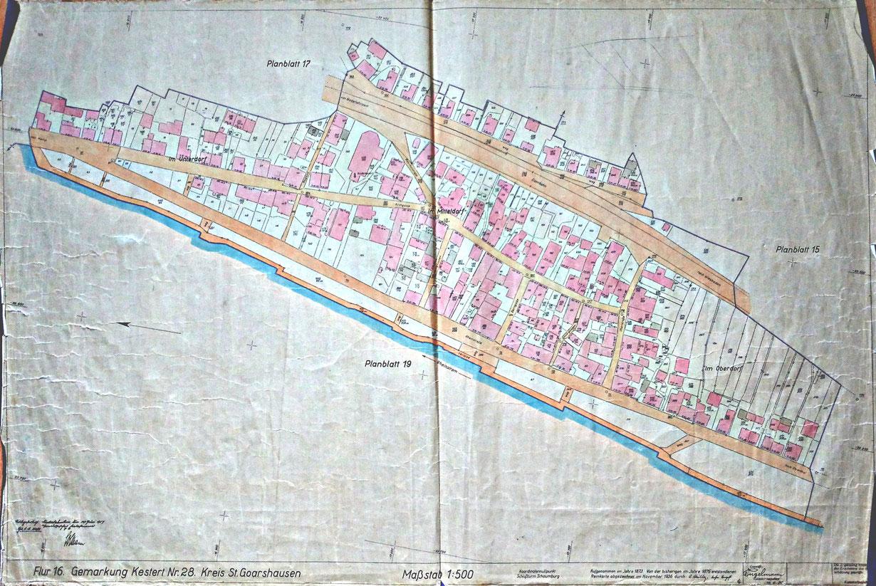 Eine Gemeinde im Umbruch. Flurkarte von Kestert aus dem Jahr 1876. Die Dokumentation und Aufarbeitung historischer Informationen ist ebenfalls ein Aufgabenfeld der Kesterter Archivgruppe.